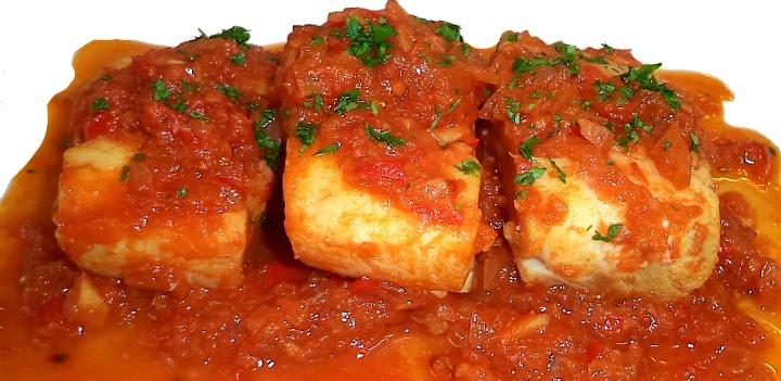 Receta bacalao con pimientos y tomate locos x la parrilla for Como cocinar bacalao al horno
